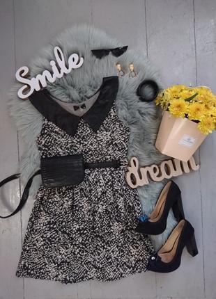 Стильное платье с кожаным воротничком №488