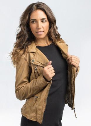 Кожаная куртка -косуха oakwood ,цвет коньяк,.размер хл.