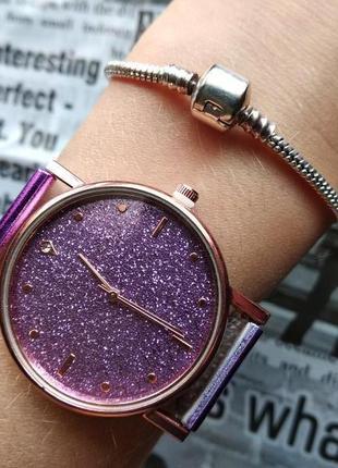 Часы наручные женские на силиконовом ремешке фиолетовые годинник
