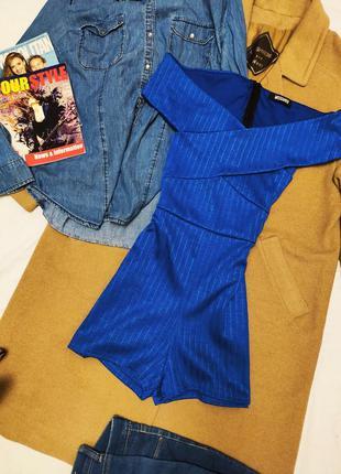 Ромпер комбинезон синий короткий эластичный с открытыми плечам...