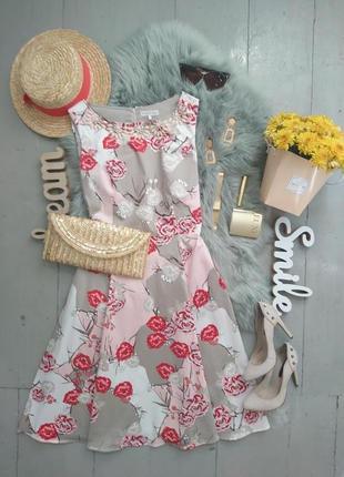 Платье миди в стиле 50-хх цветочный принт №490