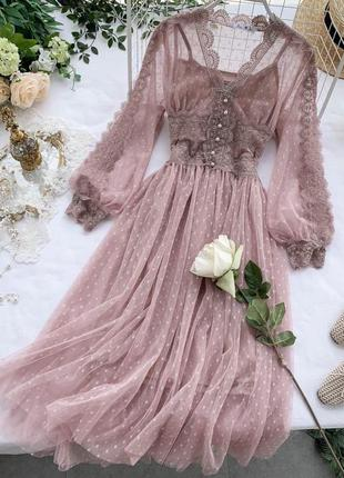 Гипюровые платья со вставками кружева😍 в 3 расцветках: пудра, ...