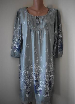 Красивое натуральное платье с принтом большого размера