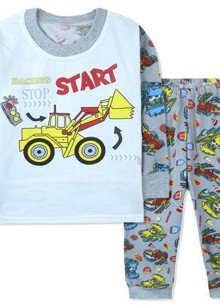 Пижама для мальчика, с начесом, серая. желтый бульдозер.