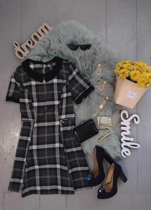 Оригинальное платье в клетку с воротничком №497
