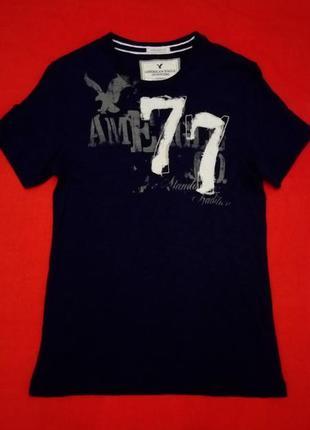 Темно-синяя футболка с аппликацией 77