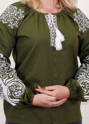 Вышитая блуза Ольга (зеленый лён) (Украина)