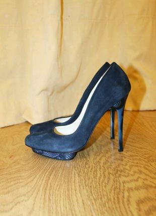 Синие замшевые туфли