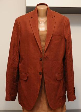Льняной пиджак без подкладки мужской. цвет терракотовый.