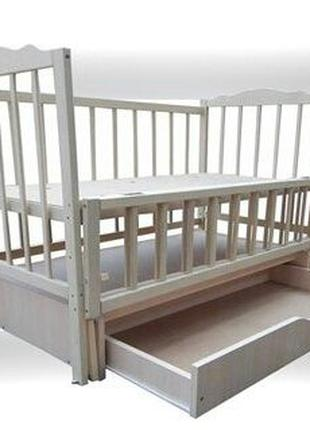 Кроватка кровать детская Белая маятник шарнир ящик ліжко дитяч...