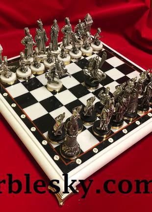 Шахматы из мрамора, доска нарды и шахмат, шахматная доска