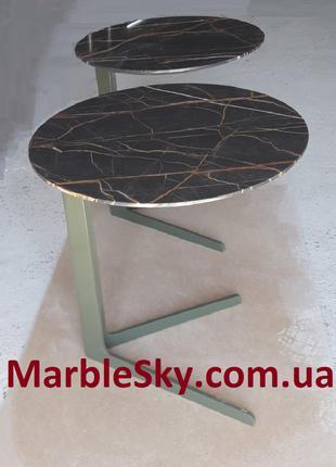 Журнальный, кофейный столик из мрамора и металла, стол