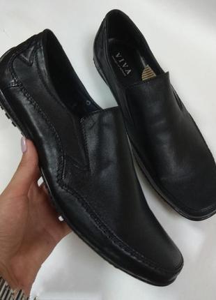 Туфли мокасины viva кожа черные р.44