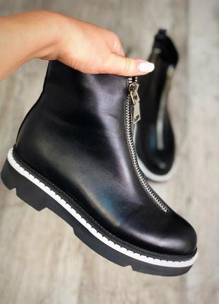 Натуральные кожаные ботинки кожа