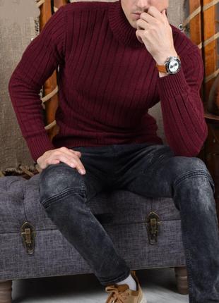 Мужской бордовый свитер, гольф, водолазка, кофта! размер l,xl, т0