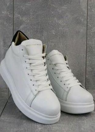 Белые кожаные кеды женские Brand B11