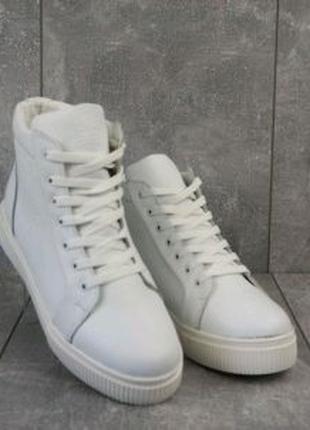 Белые кожаные кеды женские Yuves 590