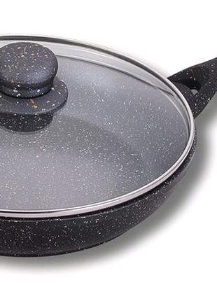 Качество| Гранитная сковорода с крышкой| Ø22см  | двойное дно