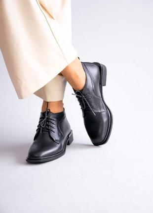 Кожаные женские ботинки на шнурках натуральная кожа