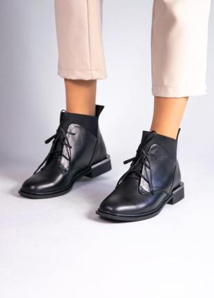 Кожаные женские ботинки на шнуровке натуральная кожа
