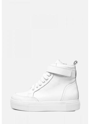 Высокие кожаные демисезонные кеды ботинки