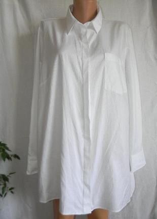 Белая натуральная рубашка большого размера