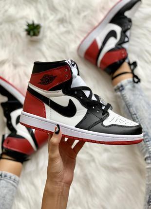 Nike air jordan 1 retro red black женские кожаные кроссовки 😍