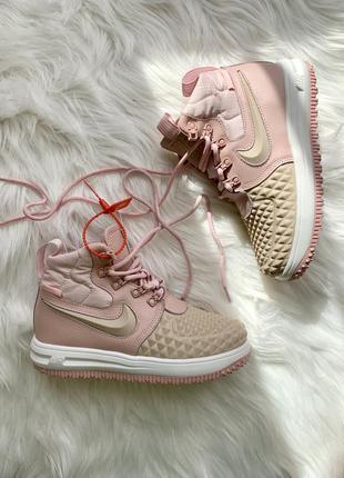 Nike lunar force 1 duckboot 17 pink женские кожаные кроссовки 😍