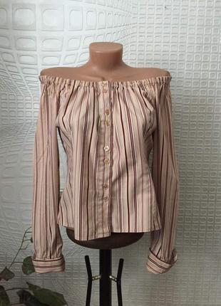 Стильная рубашка в полоску с открытыми плечами от h&m