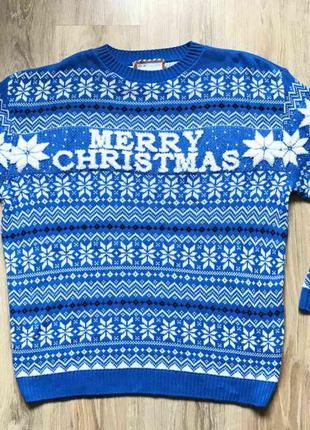 Мужской теплый свитер merry xmas