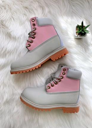 Ботинки женские Timberland Pink Grey
