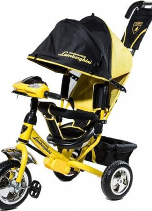Трехколесный детский велосипед Azimut -Lambordgini с родительской