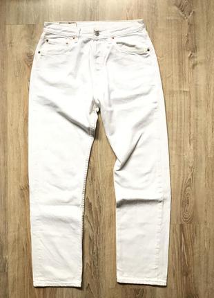 Мужские олдскул летние белые джинсы levis 501 32/30