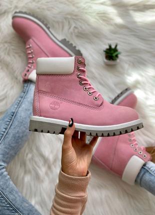 Ботинки женские Timberland Pink розовые