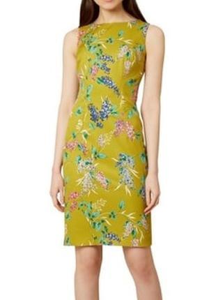 Оливковое платье-карандаш миди в цветочный принт hobbs