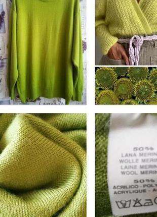 Базовый яркий свитер, гольф цвета молодой зелени из шерсти мер...