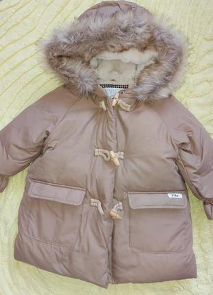 Пуховик куртка, пальто zara 12-18m   для девочки зима/осень