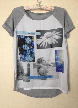 Милая комбинированная футболка от pimkie