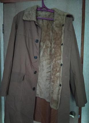 Утепленный мужской плащ/пальто/куртка с меховой подстежкой фин...