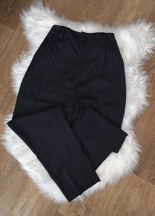 Штаны в полоску высокая посадка базовые брюки универсальные