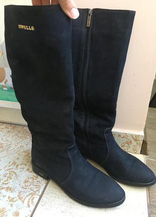 Сапоги еврозима цвета индиго сапожки женские кожаные