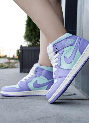 Кроссовки женские nike air jordan 1 mid purple aqua