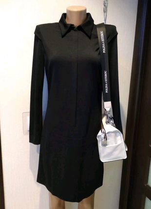 Натуральная шерсть стильное чёрное мини платье