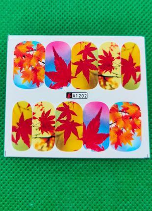 Осенние наклейки для маникюра 1202