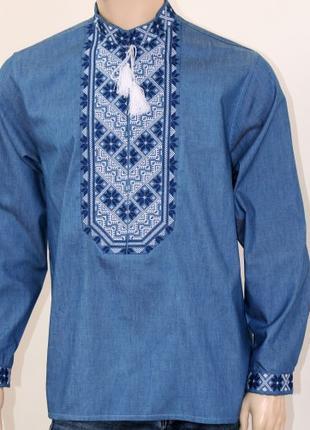 Мужская вышиванка Микола на джинсовой ткани (Украина)