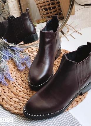 Стильные коричневые ботинки деми из натуральной кожи