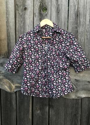 Чёрная рубашка принт цветы