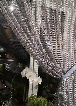 Занавеска штора тюль крупная сетка с подхватом