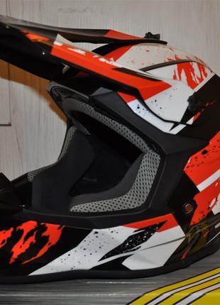 Кроссовый мото шлем GEON MX633 черно-красный / мотошлем геон 633