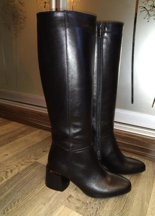 Демисезонные сапоги! классика! супер модный каблук!